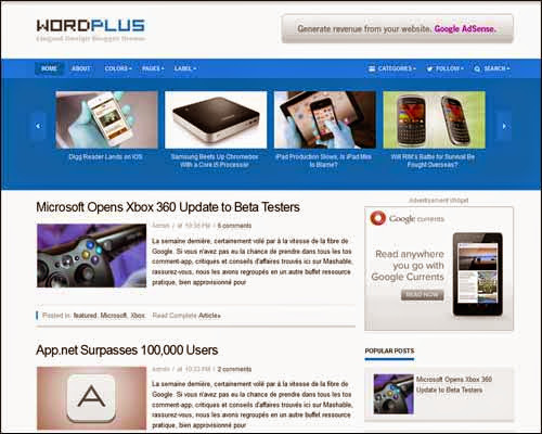 wordplus responsive blogger template