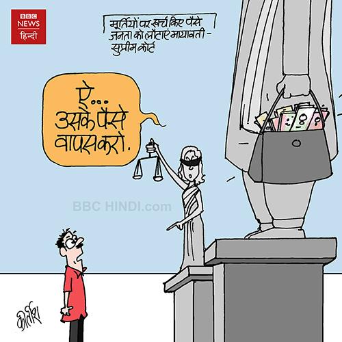 cartoons on politics, indian political cartoon, indian political cartoonist, cartoonist kirtish bhatt, mayawati Cartoon