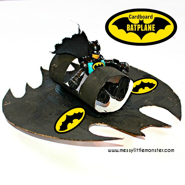 Superhero craft ideas for kids (boys).  How to make a Batplane / Batmobile for your batman figure.
