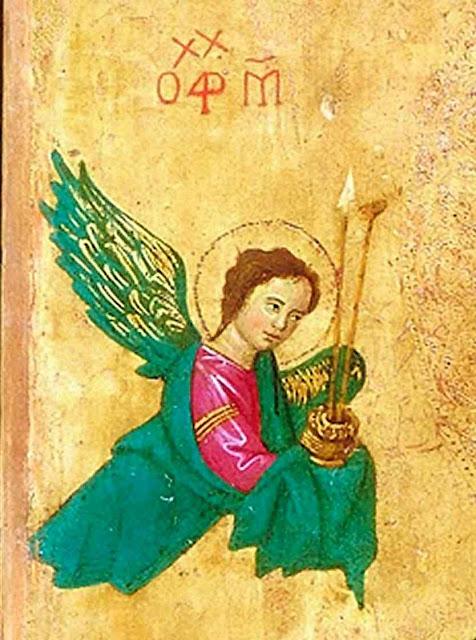 São Miguel traz a lança e a esponja, instrumentos da Paixão