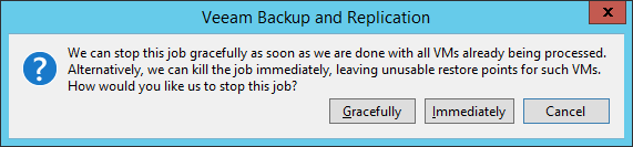 Veeam Backup: Stop job: ¿Gracefully o Immediately?