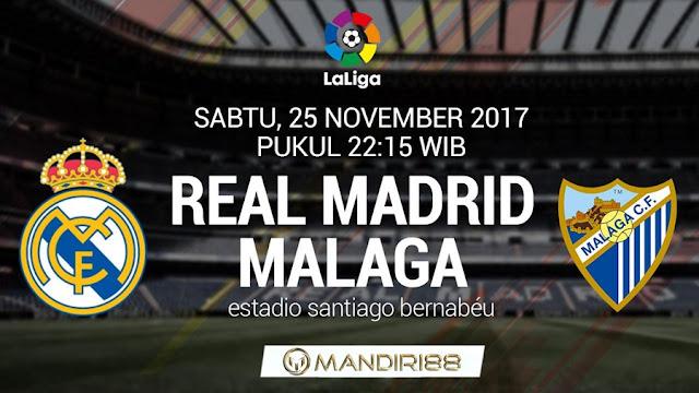 Real Madrid akan menjamu Malaga pada lanjutan Primera Division La Liga di Stadion Santiag Berita Terhangat Prediksi Bola : Real Madrid Vs Malaga , Sabtu 25 November 2017 Pukul 22.15 WIB