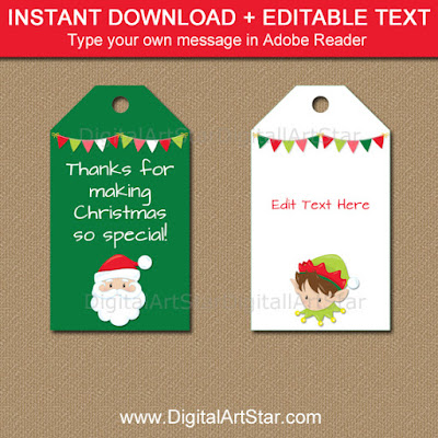 christmas tags with santa and elf