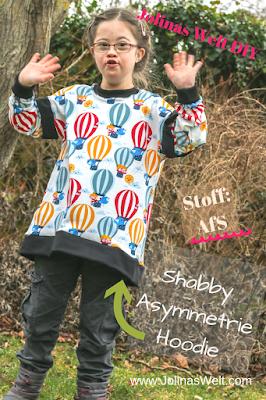 Shabby Asymmetrie Hoodie ohne Kapuze und begradigt