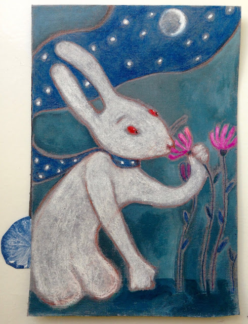#whiterabbit #illustration #pinkflowers #Aideleit #romantic #moon #stars