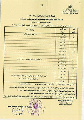 مواعيد إمتحانات الترم الاول والترم الثانى للعام الدراسى 2017/2018 الخرطة الزمنية للتعليم فى مصر