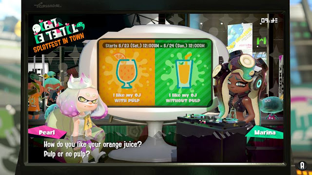 Splatoon 2 Splatfest orange juice Team Pulp versus Team No Pulp announcement