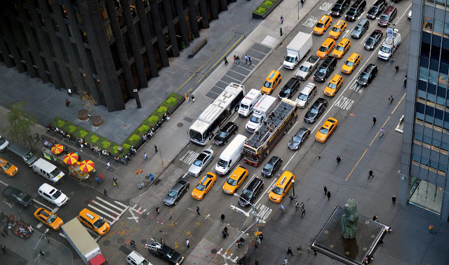 traffic jam in NYC showing gridlock