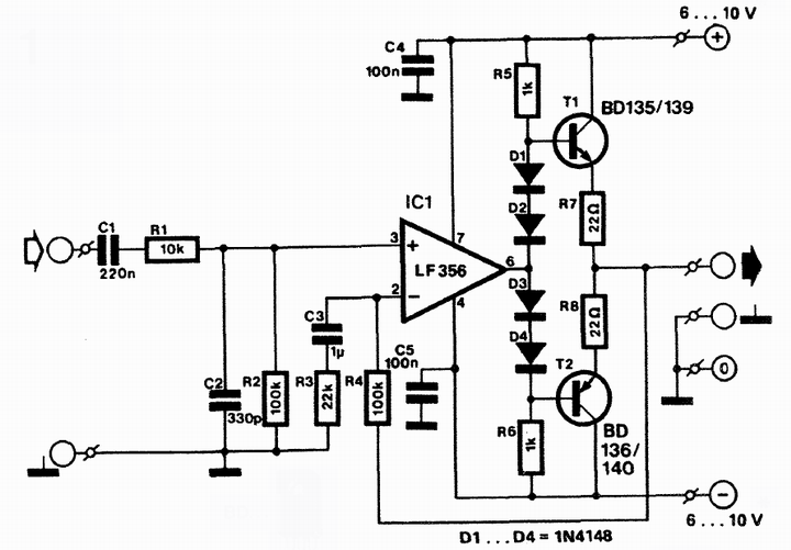 AmplifierCircuits.com: simple headphone amplifier circuit