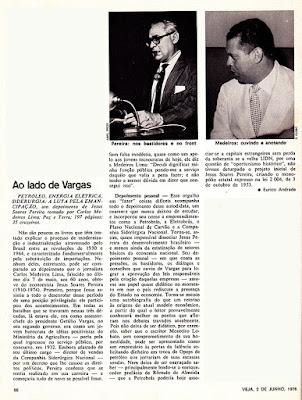 Artigo da Revista Veja em 2/6/1976 sobre o livro Petróleo, Energia Elétrica, Siderurgia: A luta pela emancipação, de Medeiros Lima