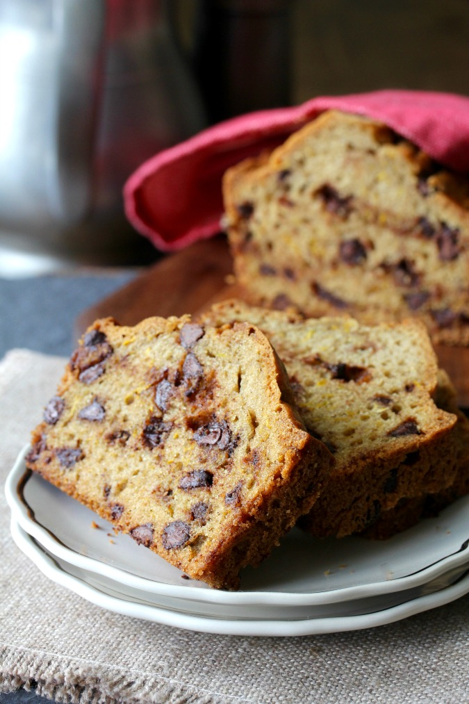 Chocolate Chip Zucchini Olive Oil Bread #zucchinibread #chocolatechips #quickbread