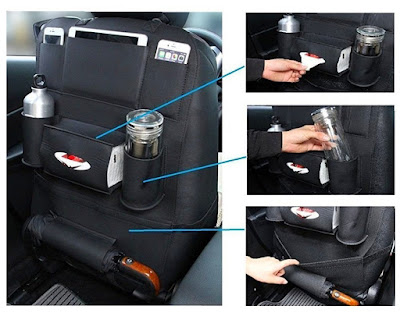 backseat car organizer holds tablets drinks bottles tissues toys and etc