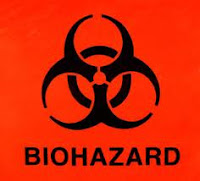 biohazard warning sign red background