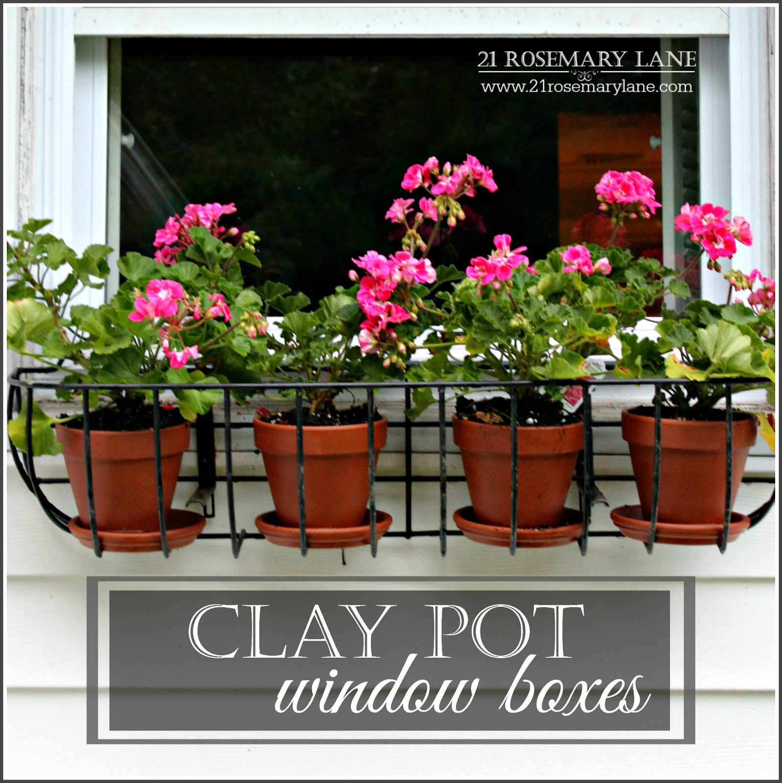 21 rosemary lane using clay pots in wire planters as an for Alternative planters