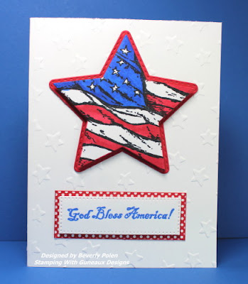 ODBD God Bless America, ODBD Custom Sparkling Stars Dies, ODBD Double Stitched Stars Dies, ODBD Custom Pierced Rectangles Dies, ODBD Old Glory Paper Collection, ODBD Customer Card of the Day by Beverly Polen