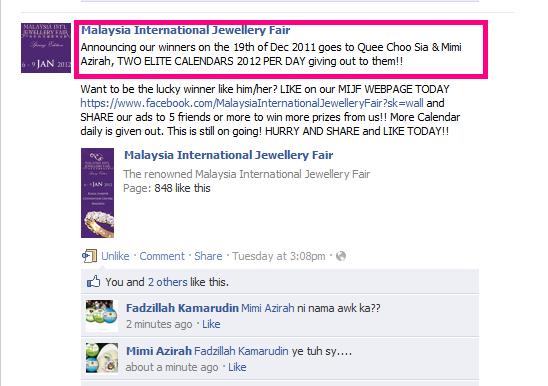 Dapat kalendar 2012 Malaysia International Jewellery Fair