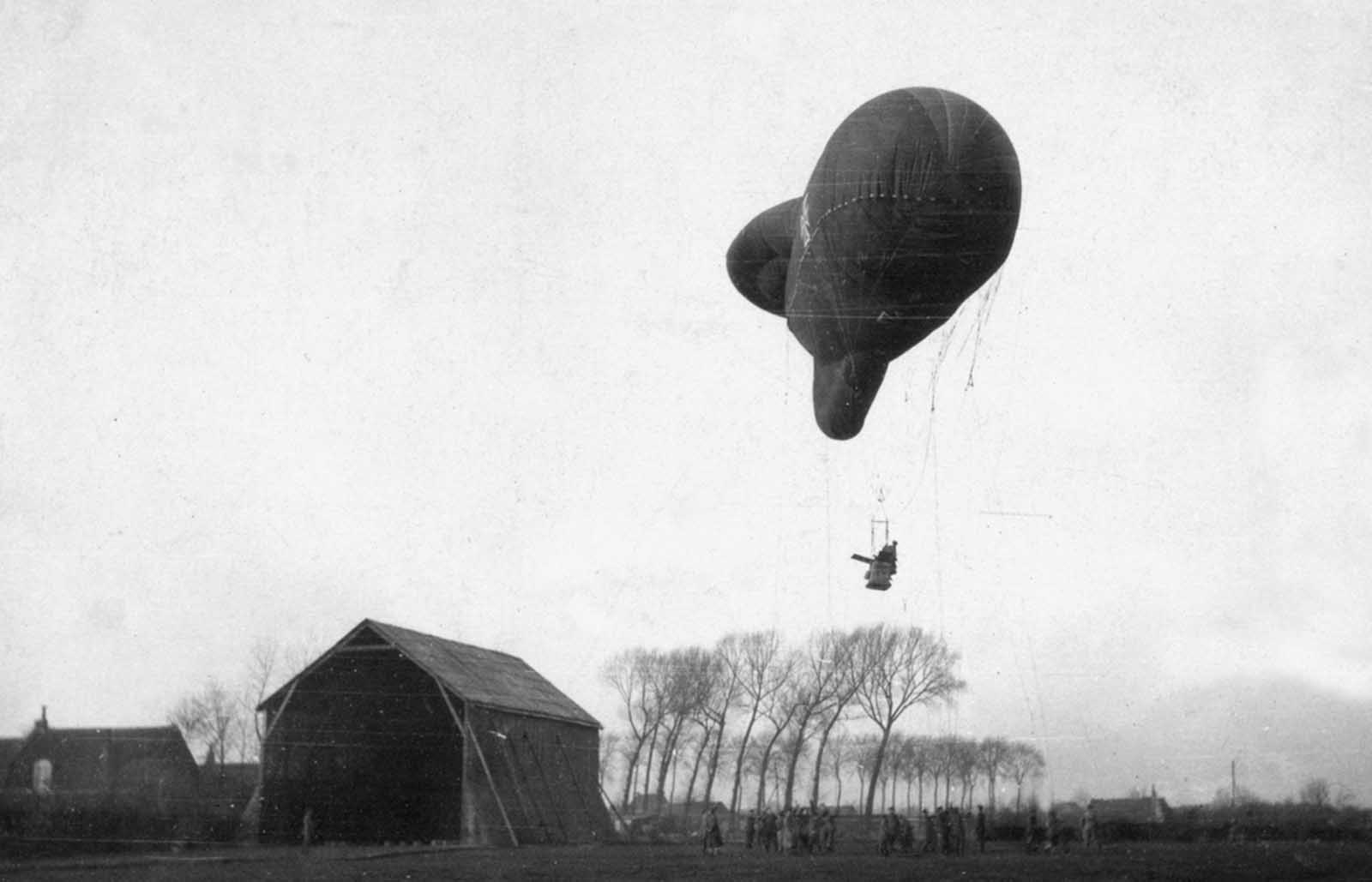 A German Type Ae 800 observation balloon ascending.