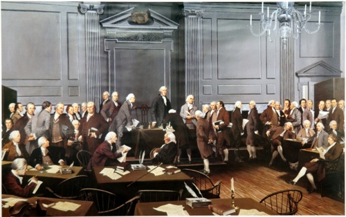 The signing of the Declaration of Independence