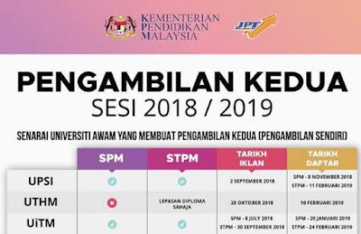 Senarai Universiti Awam Pengambilan Kedua (Second Intake) 2018/2019