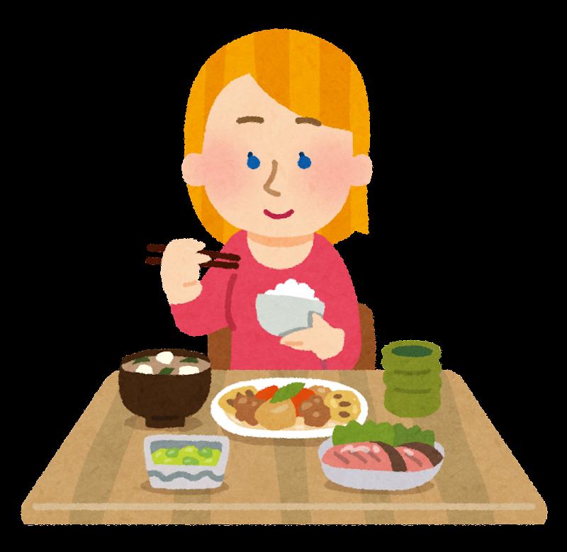 Eating Table Cartoon: 和食を食べる白人の女性のイラスト