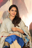 Actress Rakul Preet Singh Stills in Blue Salwar Kameez at Rarandi Veduka Chudam Press Meet  0043.JPG