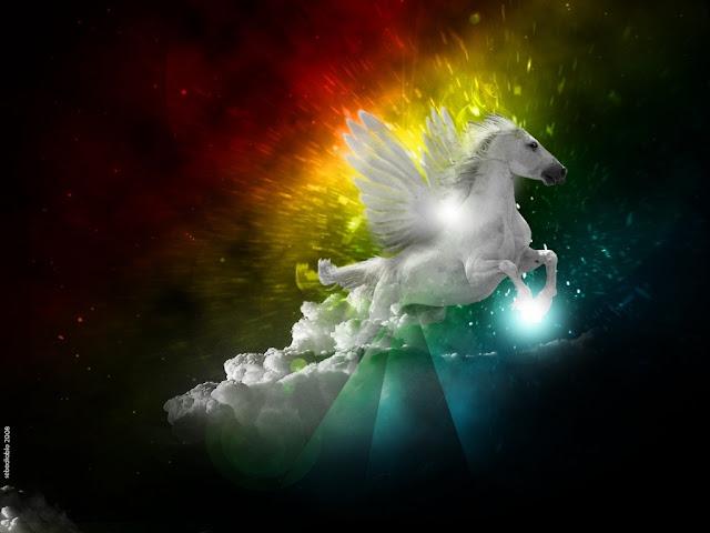 Seres fantasticos, caballo blanco, alas, caballo alado, fantasías, mitologias