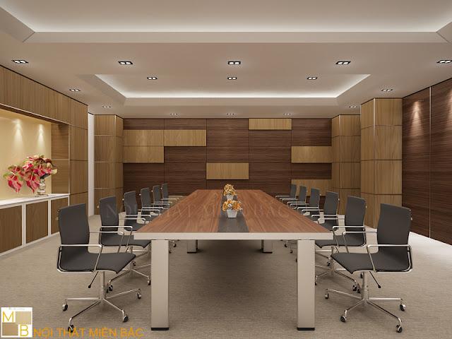 Trong thiết kế nội thất phòng họp này nổi bật với hệ thống gỗ ốp tường mang gam màu nâu vàng bắt mắt