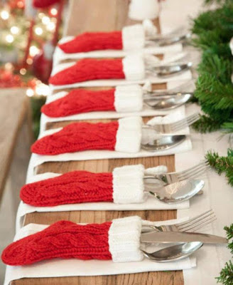 Christmas table settings using stockings
