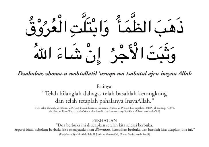 Bacaan Doa Buka Puasa Dan Artinya 1001 Doa Islami