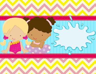 Etiquetas de Fiesta de Nenas en las Piscina para imprimir gratis