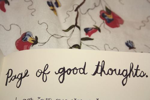 a page of wreck this journal by keri smith which reads 'page of good thoughts'
