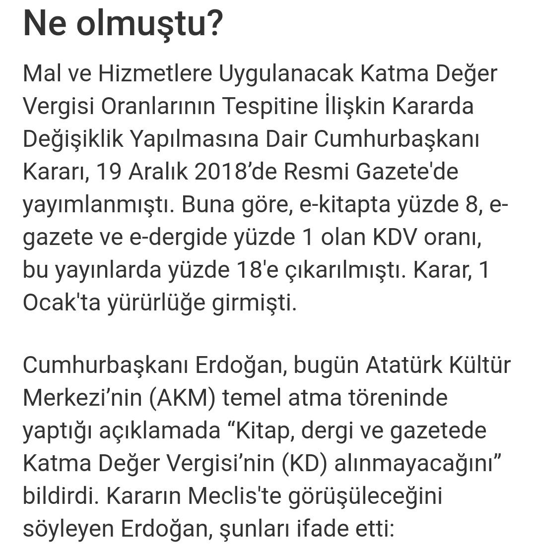 Kdv indirimi kitap cumhurbaşkanı erdoğan