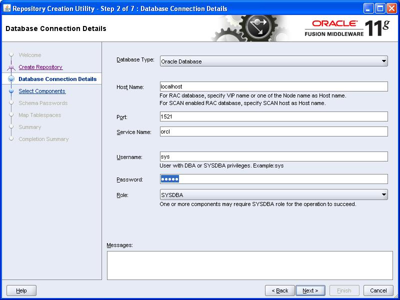 Oracle rcu invalid service name contains