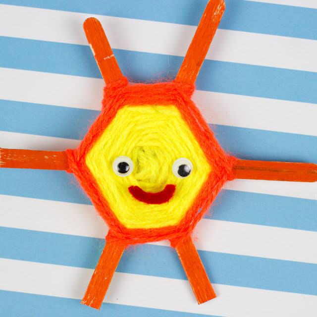 smiley sun popsicle stick weaving- great Summer kids craft!