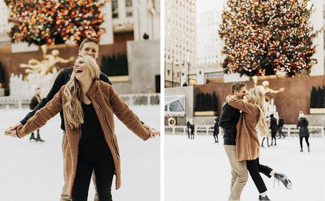 Romantyczna, naturalna sesja narzeczeńska na lodowisku w Central Parku w Nowym Jorku zrobiona przez Kierstin Jones.