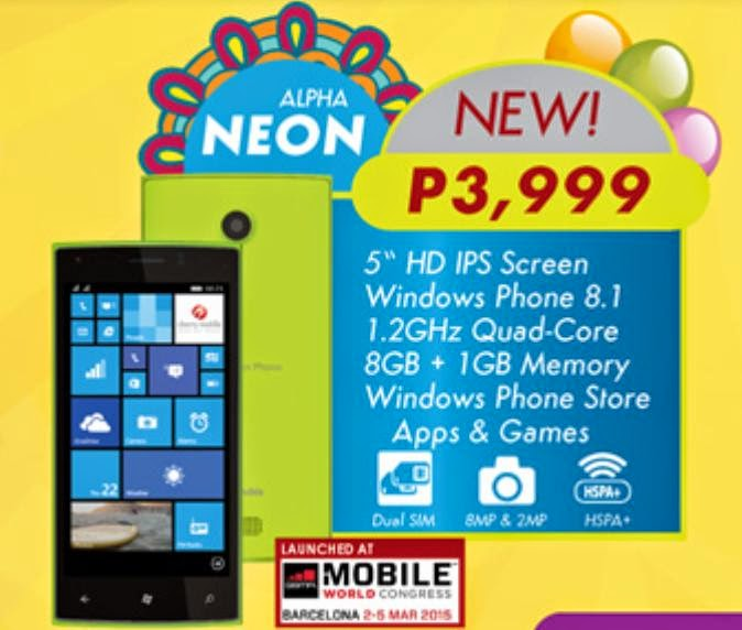 Cherry Mobile Alpha Neon, 5-inch Quad Core Windows Phone 8.1 for Php3,999