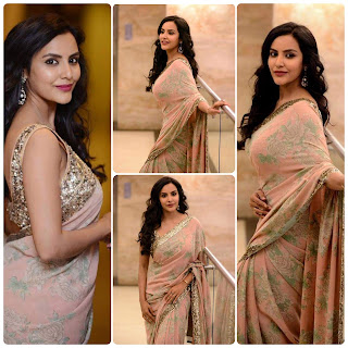 Priya Anand in floral silk satin saree with metallic sleeveless blouse Navel Queens