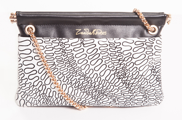 zandra rodhes, black and white pattern, printed bag, shoulder bag, clutch bag,