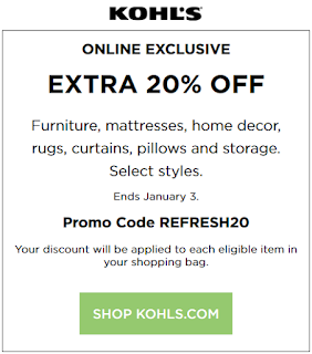 Kohls coupon 20% OFF furniture, rugs, mattresses and home decor