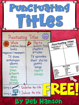 Punctuating Titles Free Lesson| This lesson includes an anchor chart idea and a free sorting activity! Use this anchor chart activity and freebie to teach your students about when to underline titles, when to italicize titles, and when to place titles inside quotation marks.