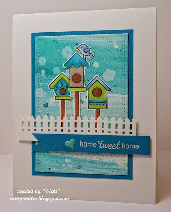 Home Tweet Home card by Vicki | Inky Paws #19 Watercolor Challenge at Newton's Nook Designs