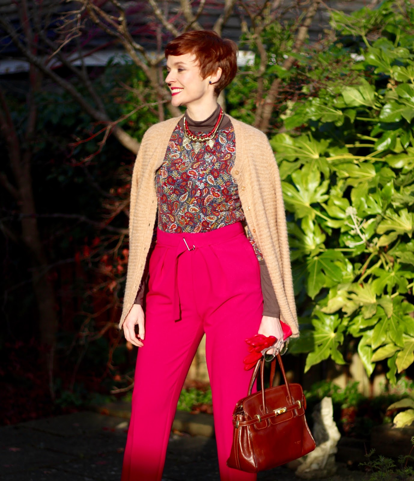 Bright Pink Peg Leg Trousers & Toffee Coloured Hiking Boots | Fake Fabulous