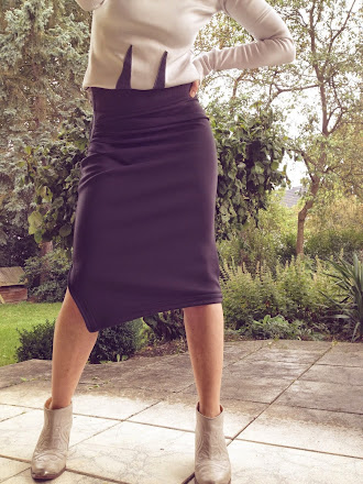 neoprene pencil skirt grey