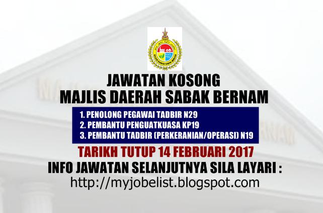 Jawatan Kosong Majlis Daerah Sabak Bernam (MDSB) Februari 2017