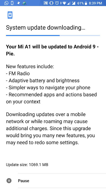 Update Android Pie Xiaomi Mi A1