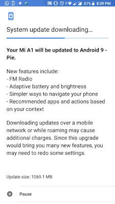 Update Android Pie Xiaomi Mi A1