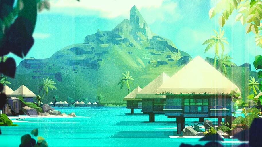 Island, Scenery, Digital Art, Illustration, 4K, #4.2063