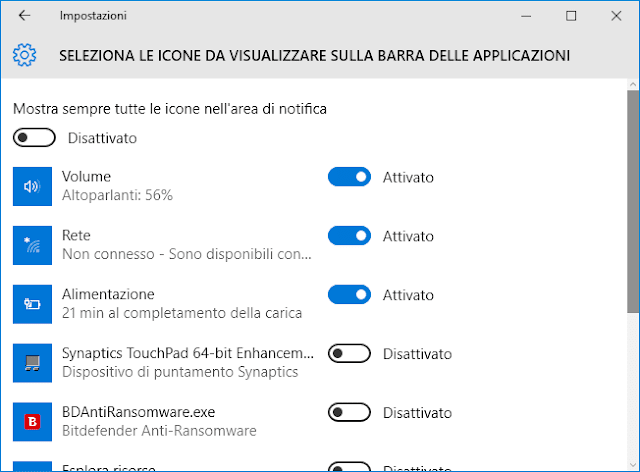 Windows 10 finestra Seleziona icone da visualizzare barra applicaizoni