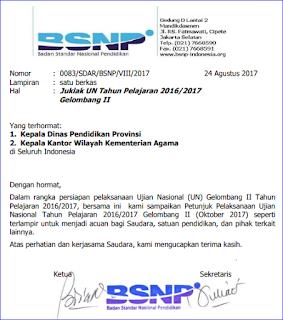 Juklak dan Jadwal UN Gelombang II (UN Ulang) Untuk SMA/SMK MA Oktober 2017