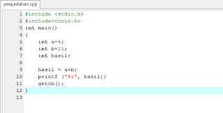 Cara membuat program penjumlahan sederhana di C++